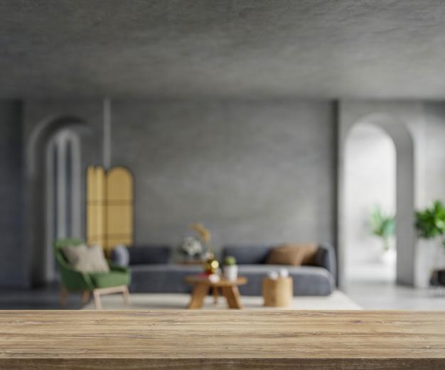 Holztischplatte auf unscharfem wohnzimmer. 3d-rendering