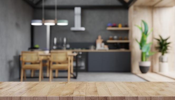 Holztischplatte auf verschwommener küchentheke. 3d-rendering
