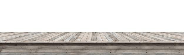Holztischplatte für anzeige oder montage ihrer produkte, lokalisiert auf weißem hintergrund