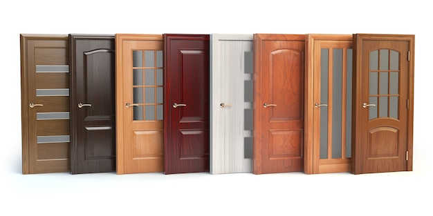 Holztüren getrennt auf weiß. innenarchitektur oder marketingkonzept. 3d-darstellung