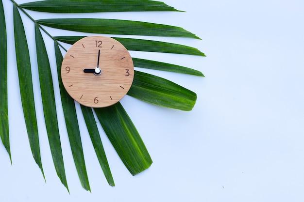 Holzuhr auf grünen blättern auf weiß