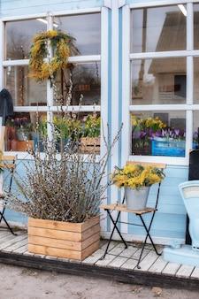 Holzveranda des hauses mit weidenzweigen und blumen gelbe mimose fassadenhaus mit terrasse außensommerveranda mit blumen