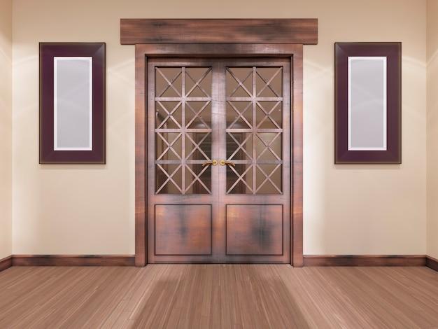 Holzvertäfelte doppeltür mit bildern an der wand. 3d-rendering