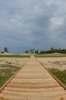 Holzweg, der sich an einem wolkigen tag über den horizont hinaus erstreckt und von gras und sand umgeben ist