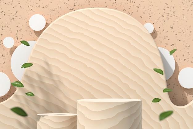 Holzzylinderplattform für produktanzeigevitrine mit blättern 3d rendern