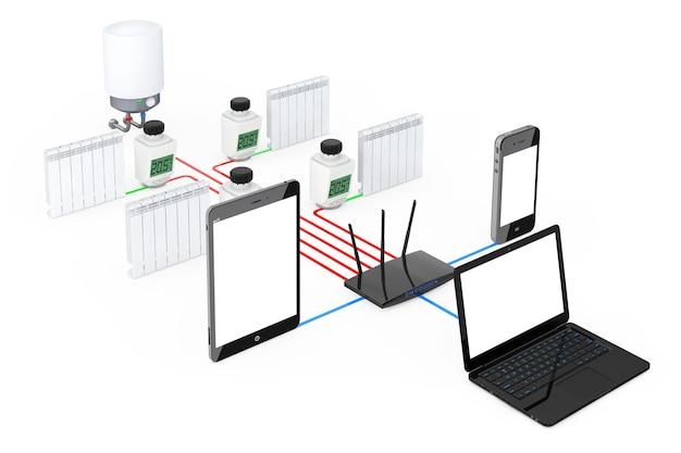 Home climate control system wireless gesteuert von laptop, tablet-pc und handy auf weißem hintergrund. 3d-rendering.