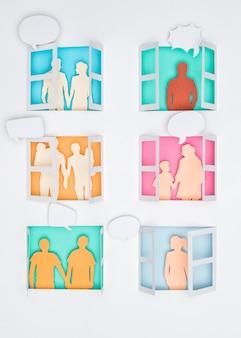 Home stillleben familie papierschnitt konzept