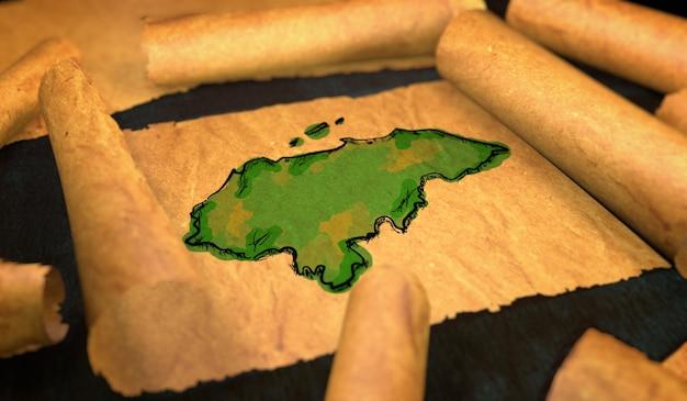 Honduranische kartenmalerei, die alte papierrolle 3d entfaltet