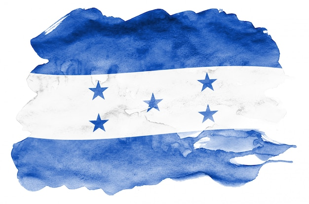 Honduras-flagge wird in der flüssigen aquarellart dargestellt, die auf weiß lokalisiert wird