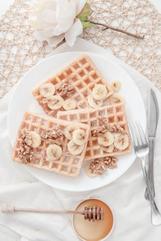 Honey nut banana waffle breakfast