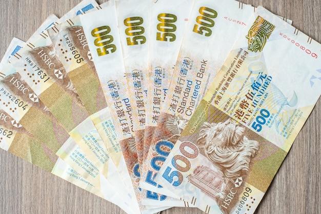 Hong kong-banknoten, hk-dollar für betriebswirtschaftlichen hintergrund