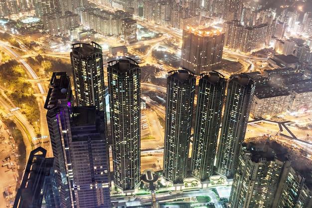 Hong kong nachtansicht