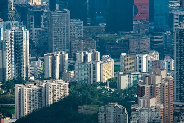 Hong kong victoria harbour city landschaft, business downtown urban mit skyline building tower, asia district szene der wolkenkratzer architekturansicht zu reisen architecture