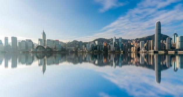 Hong kong victoria harbour panorama