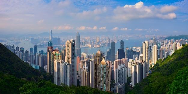 Hong kong wolkenkratzer skyline stadtbildansicht