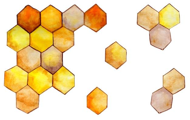 Honig goldene waben isoliert auf weißem hintergrund bienenwabensymbol hexagonaler naturhonig