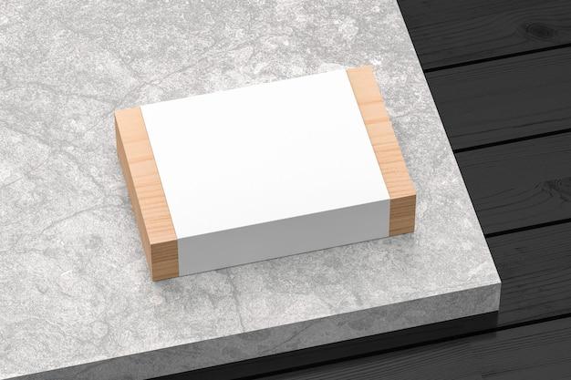 Hooden gift box mockup mit weißem papierabdeckung isoliert 3d rendern