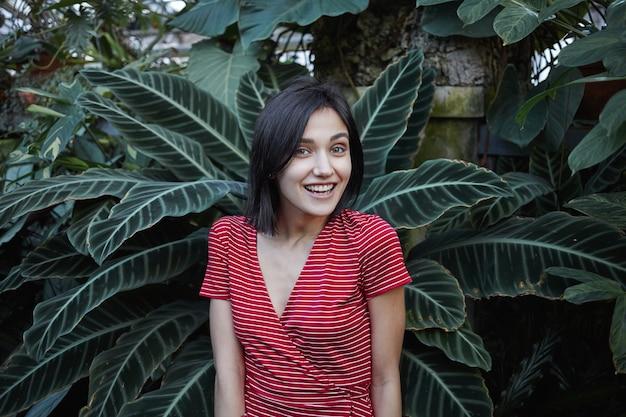 Horizontale aufnahme der erstaunlichen jungen kaukasischen brünettenfrau, die rotes kleid mit weißen streifen trägt, die an der frischen dunkelgrünen pflanze stehen und breit lächeln, sich entspannt fühlen und schönen frühlingstag genießen