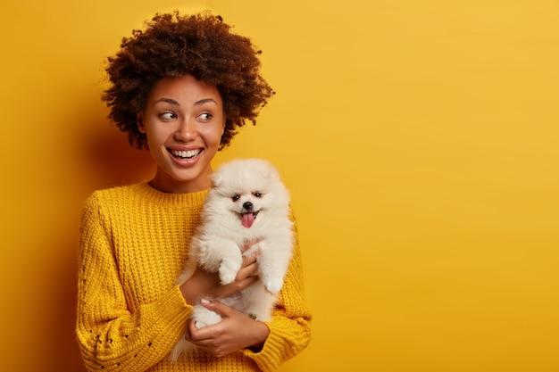 Horizontale aufnahme der glücklichen afroamerikanischen gastgeberin wirft mit niedlichem spitzwelpen auf