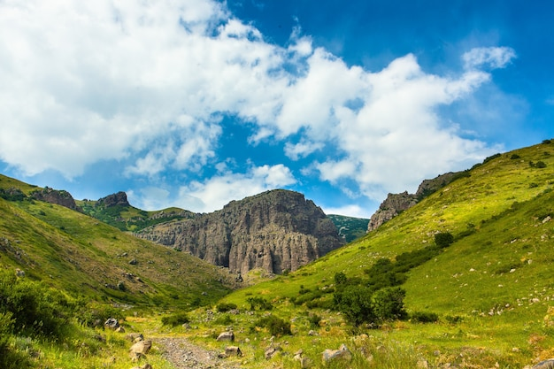 Horizontale aufnahme von bergen bedeckt in grün unter dem schönen bewölkten himmel