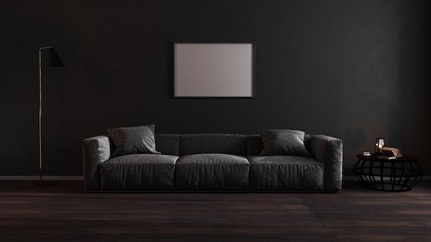Horizontale leere plakatrahmen im dunklen luxuswohnzimmer