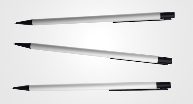 Horizontale weiße und schwarze stifte 3d