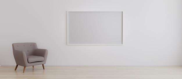 Horizontaler leerer bilderrahmen im leeren raum mit weißer wand und sessel auf holzparkett. rauminnenraum mit sessel und leerem horizontalen rahmen für modell. 3d-rendering