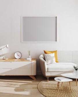 Horizontaler leerer rahmen über schrank und sofa auf weißer wand im innenraum des modernen wohnzimmers, 3d-darstellung. horizontales bilderrahmenmodell
