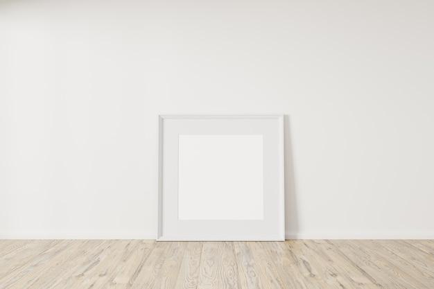 Horizontaler leerer weißer rahmen verspotten auf betonboden