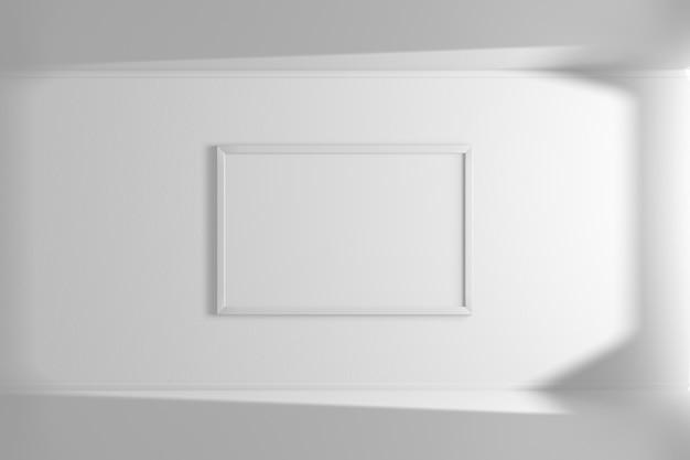 Horizontaler modellbilderrahmen der weißen farbe, die an der wand hängt. einfaches interieur. heller raum. licht und schatten des fensters. 3d-rendering
