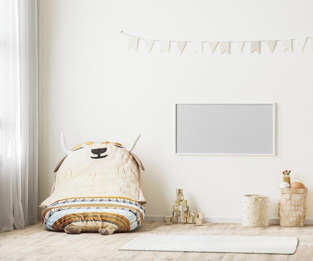 Horizontaler rahmen im kinderspielzimmer-innenraum 3d-rendering