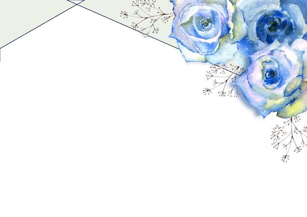 Horizontaler rahmen mit aquarellblauen rosen