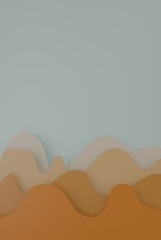 Horizontales 3d-rendering einiger bunter wellen zum vergleich orangetöne
