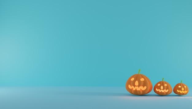 Horizontales halloween-banner oder -plakat mit drei halloween-kürbissen auf azurblauem wandhintergrund.