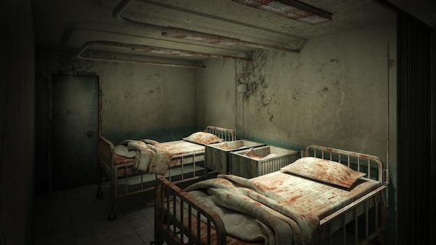 Horror und gruselige garderobe im krankenhaus 3d-rendering