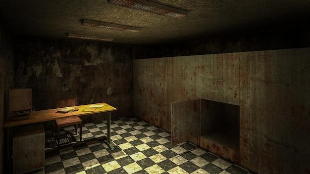 Horror und gruselige leichenhalle im 3d-rendering des krankenhauses