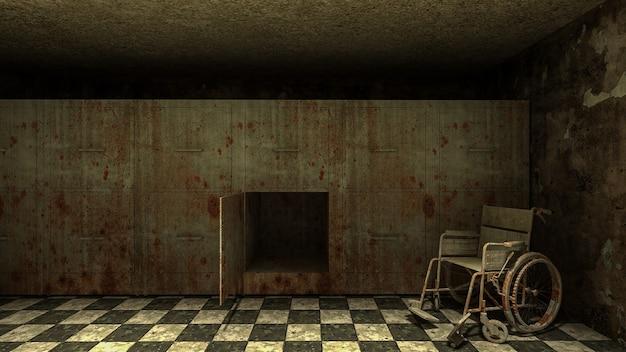Horror und gruselige leichenhalle mit rollstuhl im krankenhaus .3d-rendering