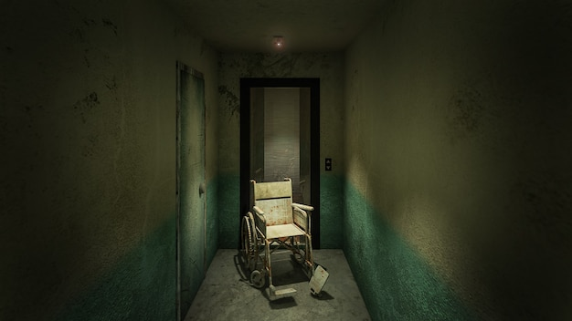 Horror und gruseliger lift mit rollstuhl im krankenhaus .3d-rendering