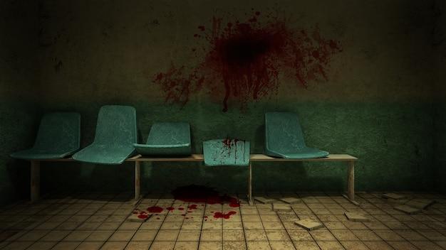 Horror und gruseliger sitz warten vor dem untersuchungsraum im krankenhaus