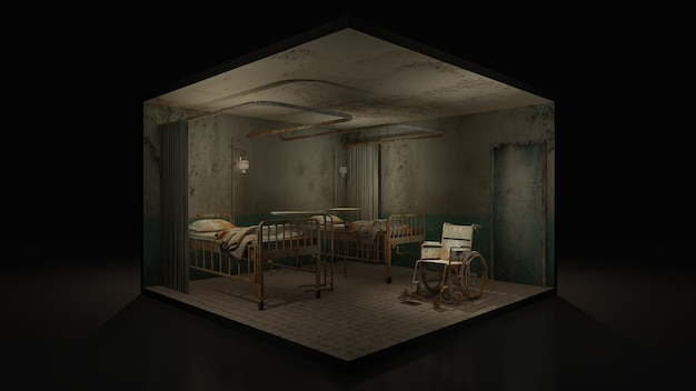 Horror und gruseliger stationsraum im krankenhaus mit rollstuhl, 3d illustration.