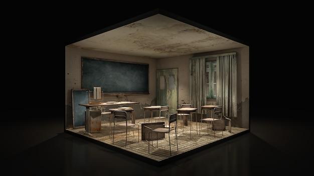 Horror und gruseliges klassenzimmer in der schule.
