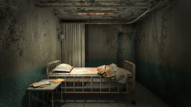 Horror und gruseliges krankenzimmer im krankenhaus mit blut .3d-rendering