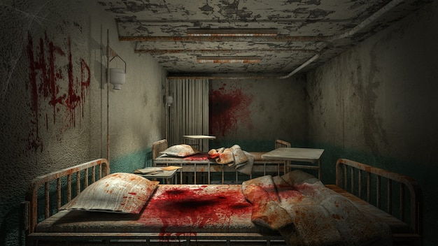 Horror und gruseliges krankenzimmer im krankenhaus mit blut.