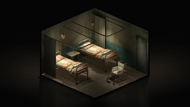 Horror und gruseliges krankenzimmer im krankenhaus mit rollstuhl.