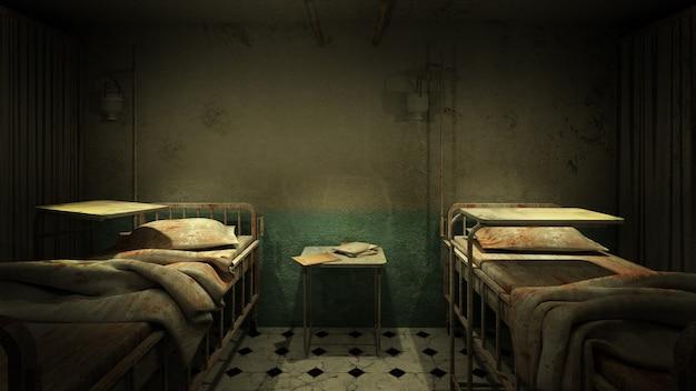 Horror und gruseliges krankenzimmer im krankenhaus