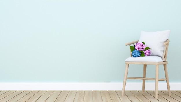 Hortensie auf stuhl im wohnzimmer oder in einem anderen raum - innenarchitektur für kunstwerke