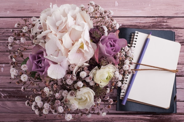 Hortensienblüten im zinntopf
