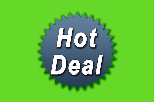 Hot-deal-illustration auf grünem hintergrund