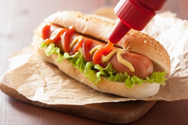 Hot dog mit ketchup-senf und salat