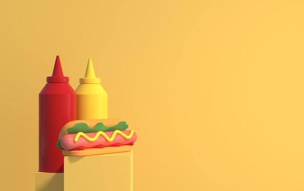 Hot dog mit senf und ketchup